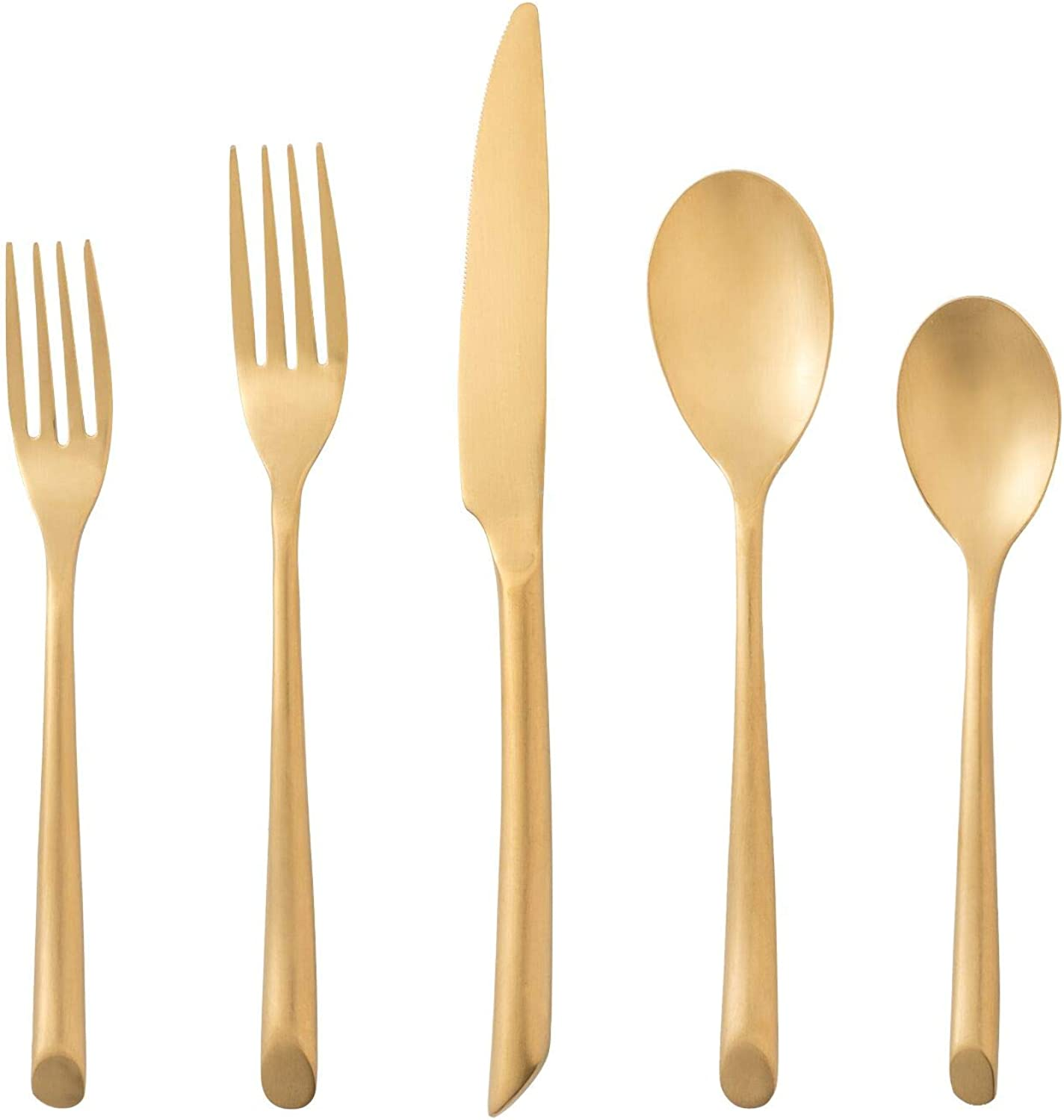 DEACORY Flatware Set 20 Piece Matte gold color Wave with Gift Box Packing Service for 4 Kitchen Restaurant Wedding Use