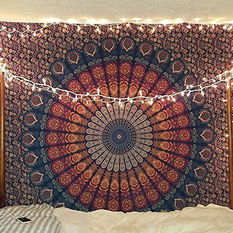 Bless International Indian Hippie Bohemian Psychedelic Peacock Mandala Wall Hanging Bedding Tapestry Golden Blue Queen 84x90Inches 215x230Cms
