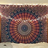 Bless International Tapiz indio hippie bohemio psicodélico, pavo real, mandala colgante de pared, ropa de cama, Azul dorado., Queen(84x90Inches)(215x230Cms), 1