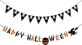 2 PCS Cute Halloween Decorations Black Skull Flags Pennant Party Banner Witch Pumpkin Fireplace Indoor