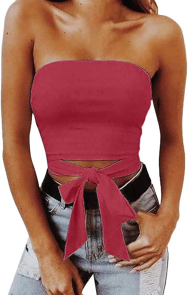 Débardeur Femmes Sans Manches à Bretelles Bandeau Uni Caraco Boobtube Top Crop Top