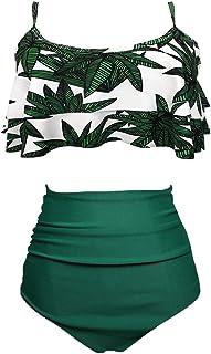 Aoqussqoa Women's Ruffle Neck Hanging Bikini Sets Two Piece Swimwear with High Waist Beach Wear