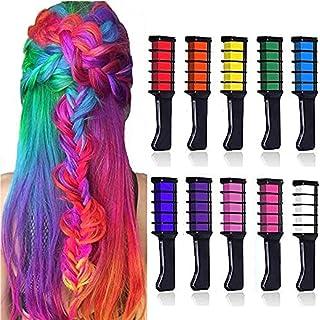 DELFINO Hair Chalk Comb Set, Hair Chalk Temporary Hair Dye Comb, Washable Bright Hair Color Chalks Birthday Gift for Women...