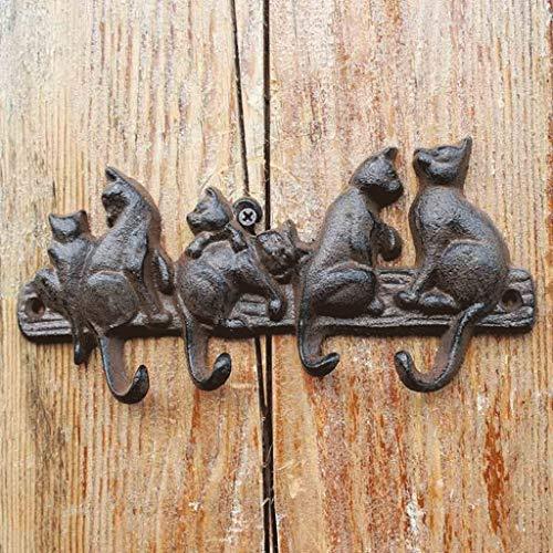 LRW Gancho de Hierro Forjado Gancho en Relieve Ornamento de Pared Figura de Seis Gatos Diseño Europeo