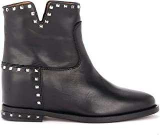 Via Roma 15 Woman's Ankle Boot in Black Leather with Studs