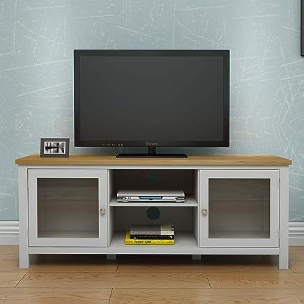 Keinode Mueble de TV Moderno de Roble Macizo, 2 Puertas, 2 estantes, DVD, Unidad de Almacenamiento de vídeo, Mueble para salón, Dormitorio Type C