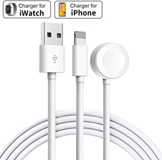 Wireless Charger for Apple Watch Magnetic Charging Cable, 2 in 1 Watch Charging Cable Cord for Apple Watch Compatible for Apple Watch Series 5/4/3/2/1 for iPhone 11/XR/XS/X/8/7-[3.3 FT/1.0M- White]