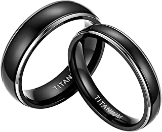 4mm 6mm Titanium Rings High Polish Black Wedding Bands Simple Luxury Couple Rings for Men Women Size 4-13