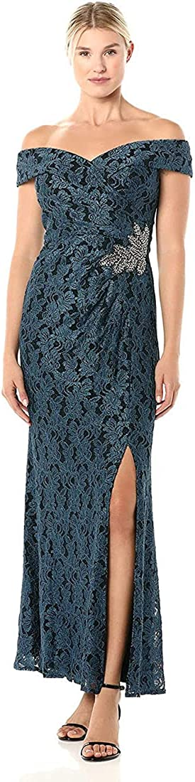 Alex Evenings Women's Lace Off The Shoulder Fit and Flare Dress Petite Regular