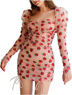 catmoew Mujer Vestido Fiesta Largo Manga Corta Fresa Print Casual Vestidos Mujer Vestidos Manga Larga de Fiesta Largos Flo...