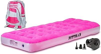 Pittman Outdoors PPI-PNK_KIDMAT Pink Twin Kid's Mattress with Portable Battery Powered Air Pump and Fun Travel Backpack