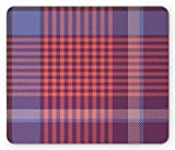 Ambesonne Checkered Mouse Pad, Retro British Irish Cultural Pattern of Tartan Abstract Celtic Design, Standard Size Rectangle Non-Slip Rubber Mousepad, Purple Lavender Orange