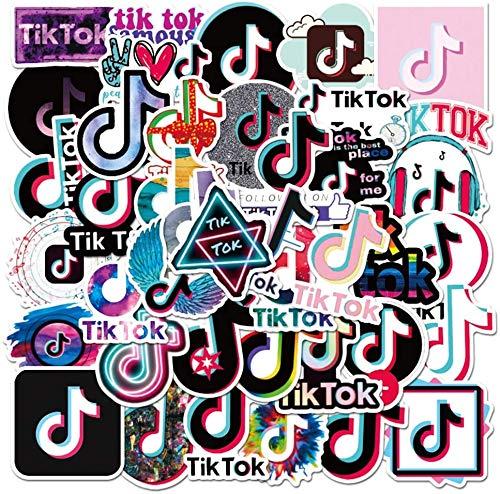 REZAUP Fun TikTok Aufkleber 50 Stück, Tanz und Glitzer TikTok wasserdichte Vinyl Aufkleber für Wasserflaschen, Laptop Aufkleber, Autos, Motorräder, Fahrrad, Skateboard, Gepäck, Telefon