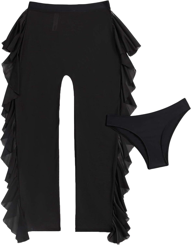 MakeMeChic Women's Fringed Sheer Mesh High Waist Beach Pants