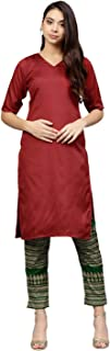 AHALYAA Women's Poly silk Straight Kurta Sets (Red)