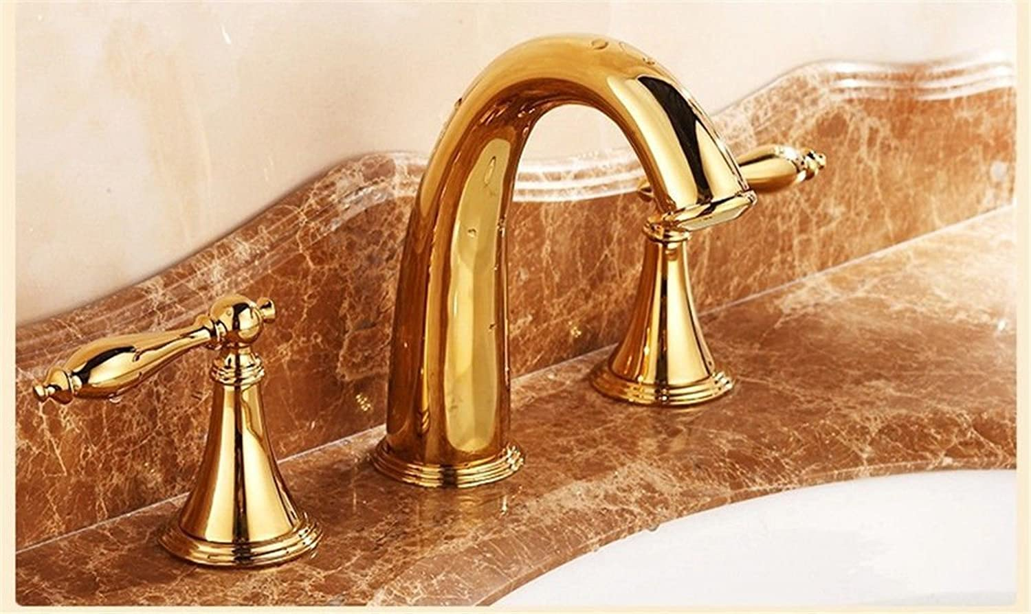 Hlluya Professional Sink Mixer Tap Kitchen Faucet The golden faucet double the sit-in titanium three 8-inch hole Washbasin Faucet