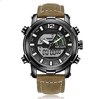 Megir ML2089G-BKBN-1 Leather Round Analog-Digital Watch for Men - Light Brown