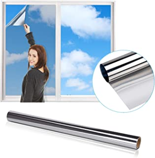 Película de espejo para ventanas, Película reflectante iTrunk Película de espejo unidireccional para la protección de la privacidad en ventanas, película adhesiva estática Anti UV 60 x 200cm, Plateada