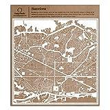 Barcelona Scherenschnitt Karte, Weiß 30x30 cm Papierkunst