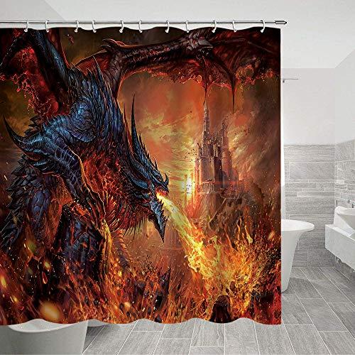 Lierpit Duschvorhang mit Drachenmuster, Mittelalter-Thema, Badezimmervorhang Game of Thrones, Polyester-Stoff, Badezimmer-Zubehör mit Haken, 179,8 x 177,8 cm Drache 3