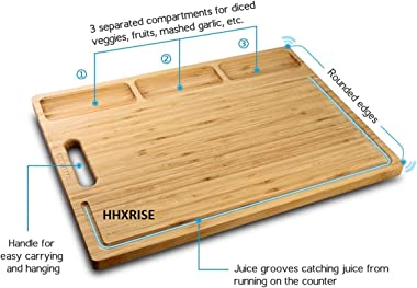 Large Organic Bamboo Cutting Board for Kitchen, with 3 Built-in Compartments and Juice Grooves, Heavy Duty Chopping Board for