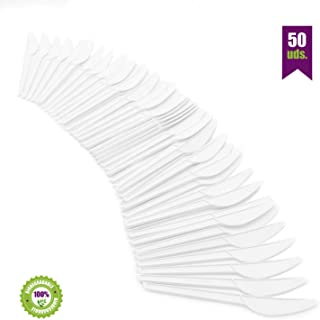 GoBeTree Cuchillos Desechables biodegradables de plástico. Cubiertos Desechables compostables. Cuchillos de Bio-plástico CPLA Blanco Resistentes al Calor. 50 Cuchillos Blancos de 16.5 cm