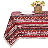 Bettery Home Bohemian Style Rectangle Tablecloth Cotton Linen Lace Boho Table Cloth for Kitchen Dining Room Tabletop Decoration (55 x 70 Inch, Red)