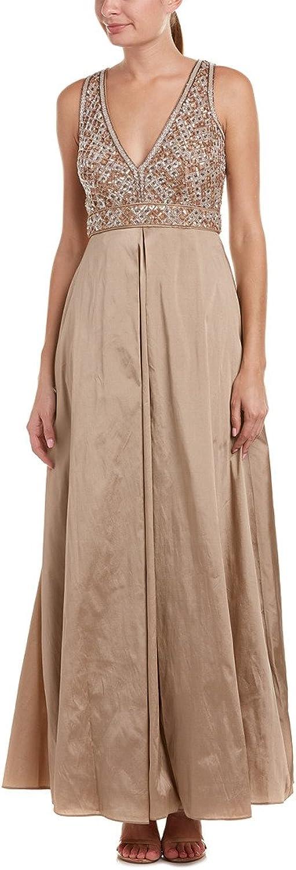 Aidan Mattox Womens Embroidered Embellished Evening Dress Bronze 2