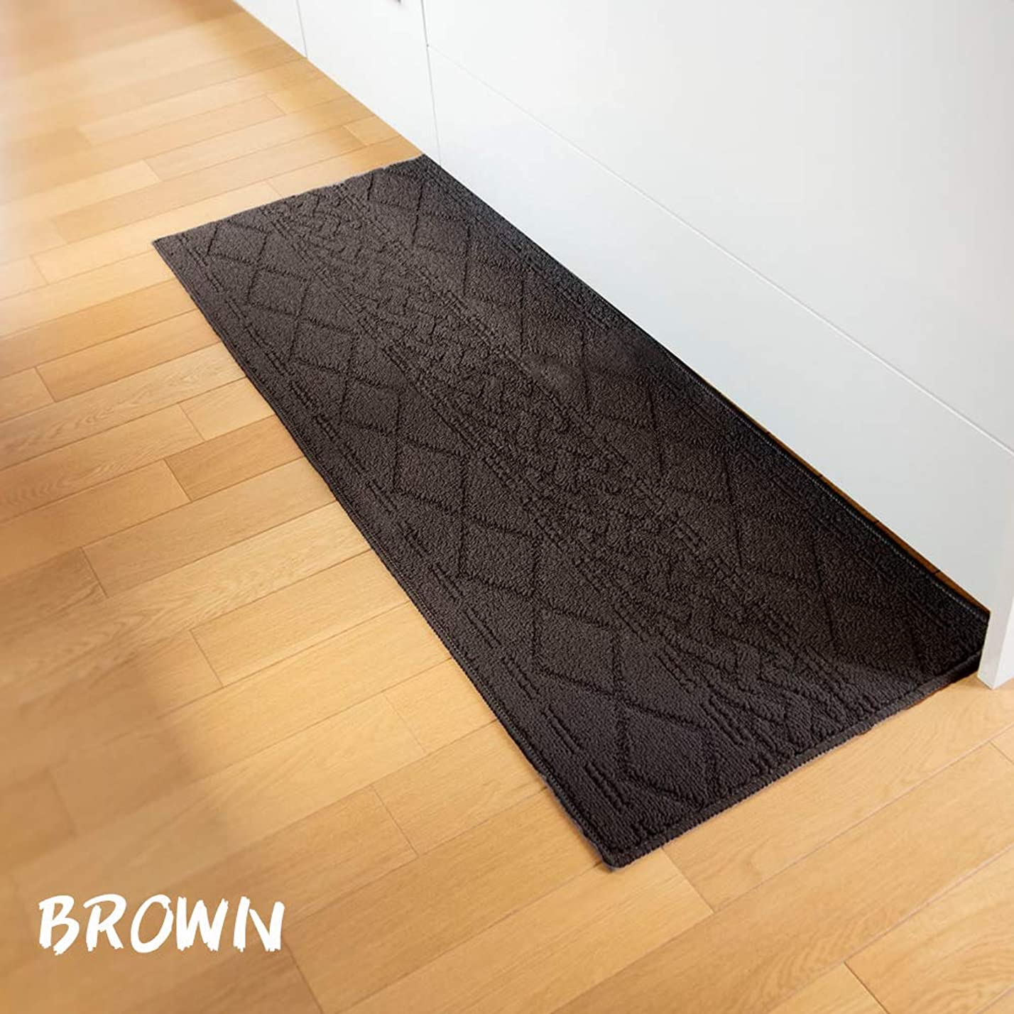 社員ゴム羊【45×120cm 】sunny kitchen mat(サニーシリーズ)北欧柄 キッチンマット ブラウン
