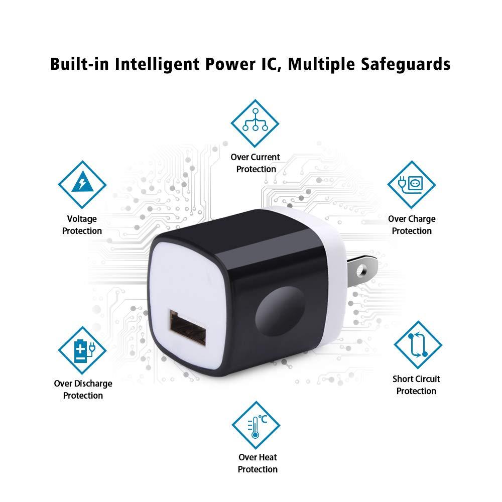 2er Pack-Wei/ß Universales Netzteil USB Ladestecker Intelligenter IC USB Ladeadapter f/ür iPhone 11 12 Max XS Madream USB Ladeger/ät
