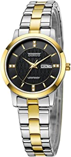 Men Quartz Watch Women Gold Stainless Steel Two-Tone Automatic Black Dial Wrist Analog Watch Luxury Gift