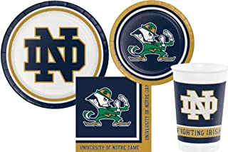 University of Notre Dame Fighting Irish Party Supply Pack - Bundle Includes Plates, Napkins and Cups - Serves 8