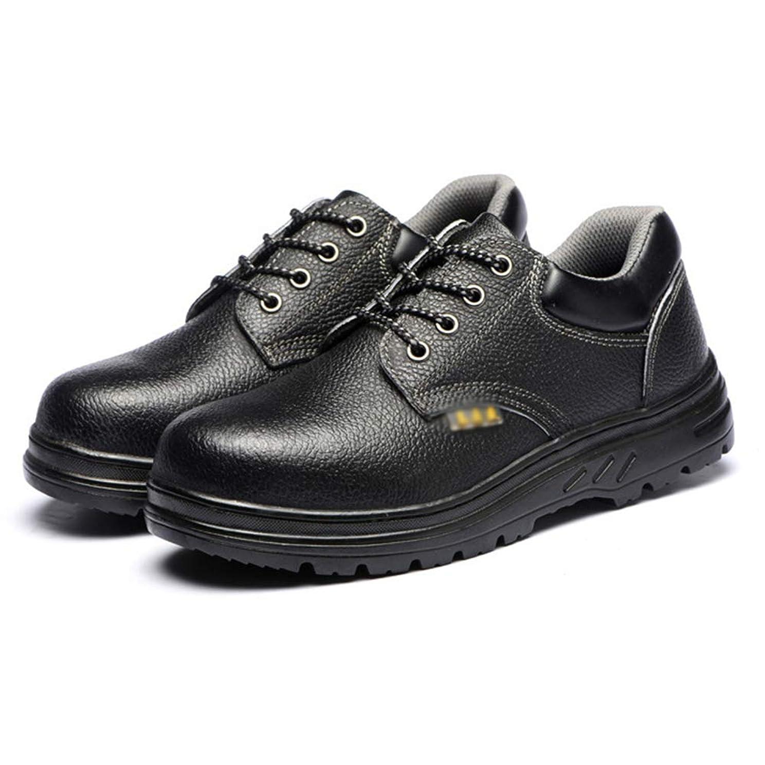 議論する粒子床を掃除するメンズ ショートブーツ 安全靴 作業靴 短靴 レザー レースアップシューズ 通気 つまさき保護 先芯入り 疲れない 滑らない 釘防止 鋼片付き 靴底防護 刺す叩く防止 防刺 耐摩耗 二層底 耐滑 耐油 黒
