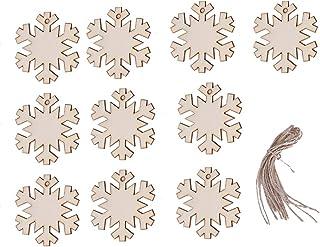 Garosa Adornos Colgantes de Navidad de Madera Adornos de Forma de Bola de Calcetín de Copo