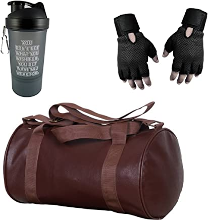 VELLORA Leather Soft Gym Bag with Sport Sipper Water Bottle and Black Color Gloves