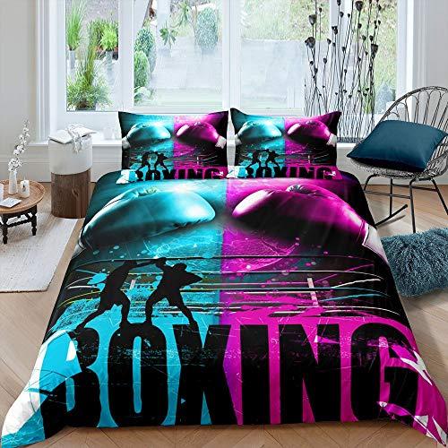 Juego de ropa de cama de boxeo, funda de edredón deportiva, funda de edredón de guantes de boxeo, color rosa, azul, funda de edredón para niños y adultos, con 2 fundas de almohada tamaño king