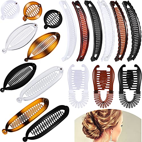 18 Pieces Banana Hair Clips Classic Clincher Combs Large Double Comb Banana Clip Fishtail Hair Clip Banana Ponytail Holder Clip for Women Girls, 6 Styles