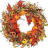 The Wreath Depot Bainbridge Fall Door Wreath 22 Inch, Beautiful White Storage Gift Box