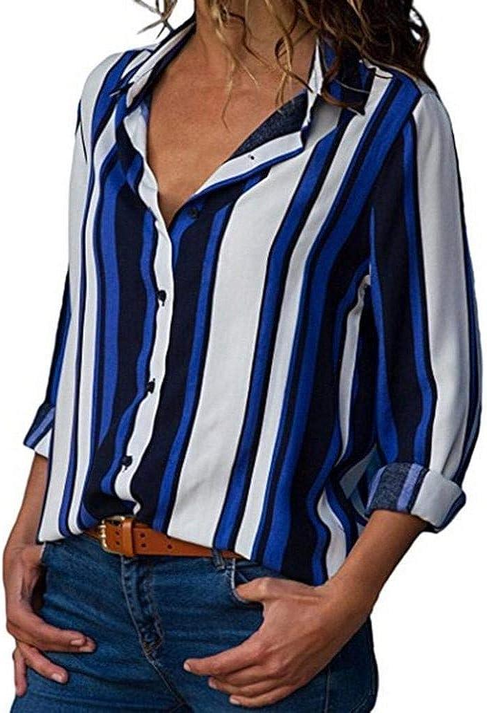 Ropa para Mujer Camisa De Rayas Blusas Tops Otoño ...