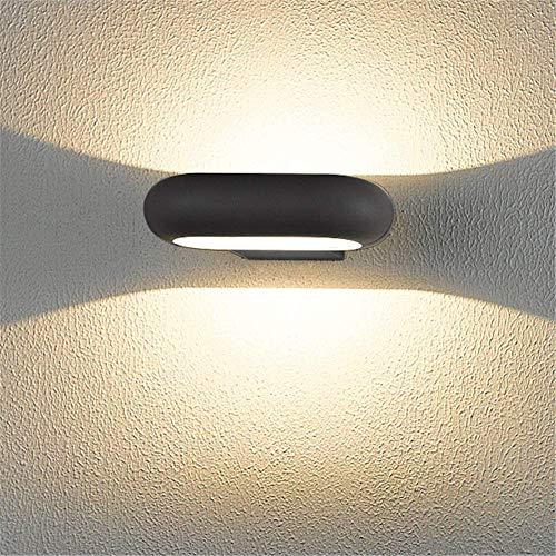Gpzj Applique Murale Moderne Contemporain Intérieur Haut et Bas Eclairage Aluminium Noir Ovale LED Petite Applique Murale IP54 Imperméable, Lumière Blanche et Chaude