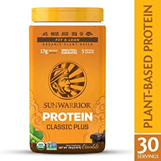 Sunwarrior - Classic Plus, Vegan Protein Powder with Peas & Brown Rice, Raw Organic Plant Based Protein (30, Chocolate).
