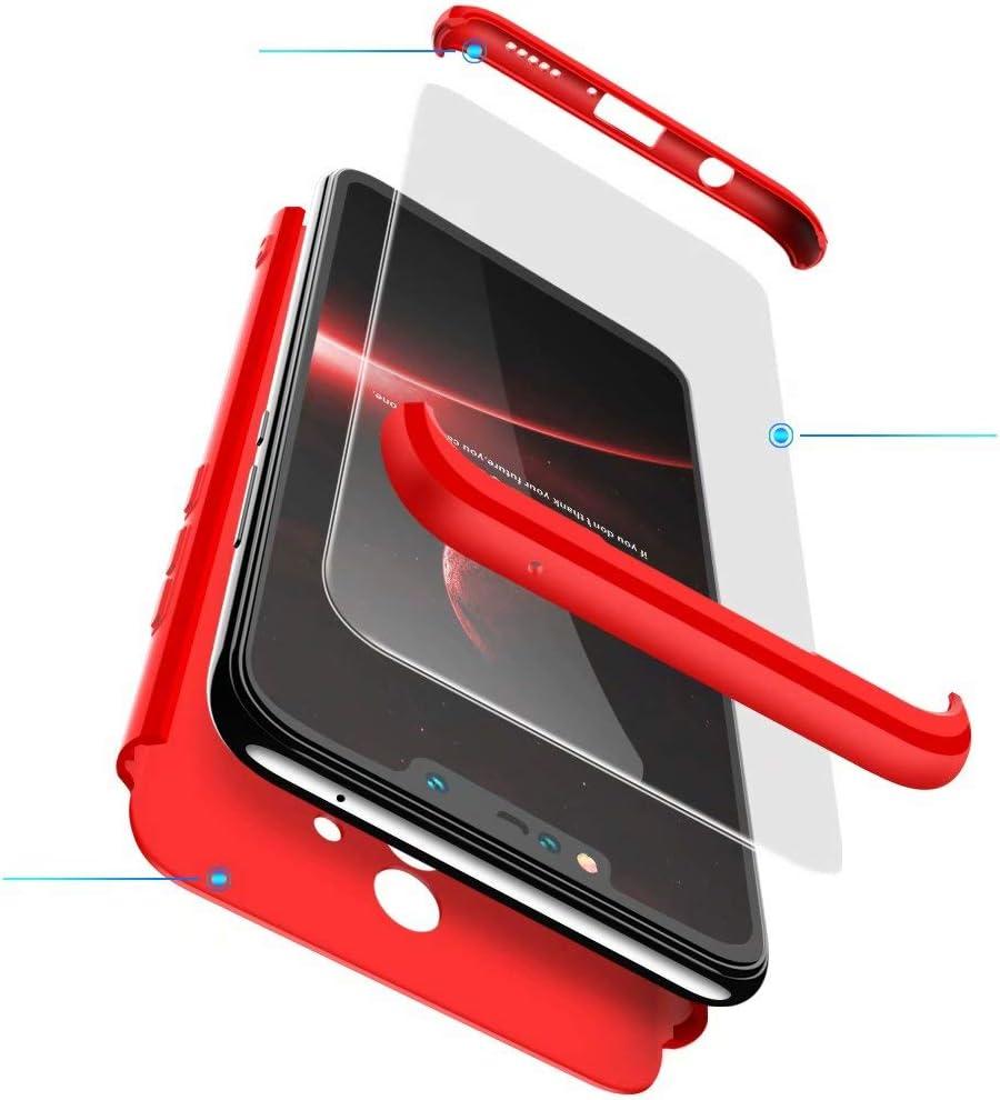 BESTCASESKIN Funda Compatible con Xiaomi Redmi 5 Plus, Carcasa Móvil de Protección de 360° 3 en 1 Desmontable con HD Protector de Pantalla Caso Case Cover [Anti Huellas Dactilares] Rojo