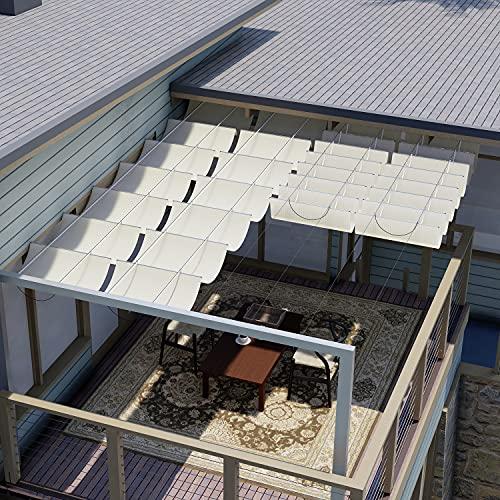 E&K Sunrise 3'Wx16'L Beige Retractable Pergola Canopy Shade Cover...