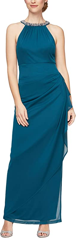 Beaded Halter Long Gown with Side Ruching
