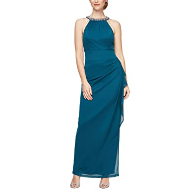 Alex Evenings Beaded Halter Long Gown with Side Ruching Women
