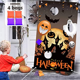 UNGLINGA Halloween Kids Party Toss Games 4 Bean Bags Trick or Treat Decorations Pumpkin Bat Spider Ghost Party Favors for Kids Boys Girls