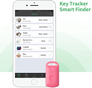 Key Finder, CC-Show Wireless GPS Phone Locator, Smart Wallet Tracker, Anything Anti Lost Alarm with Selfie Shutter/Remote Control for iOS/Android App, PadlockShape (Pink)