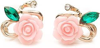 LUFA Stud orecchino orecchini di fascino strass di cristallo del fiore della Rosa di lusso per le donne