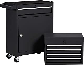 Rolling Tool Chest, Removable Tool Cabinet, Metal Box w/ 5 Drawers (Black)