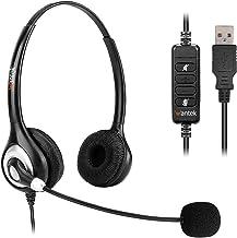 هدست های USB طناب کابل اتصال استریو با کنترل های میکروفون و نویز بدون سر و صدا ، هدست تجاری Wantek UC برای Skype ، SoftPhone ، مرکز تماس ، Crystal Clear Chat ، فوق العاده سبک ، فوق العاده راحت (UC602)